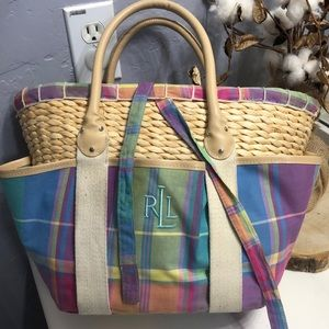 Ralph Lauren Plaid Straw tote bag.
